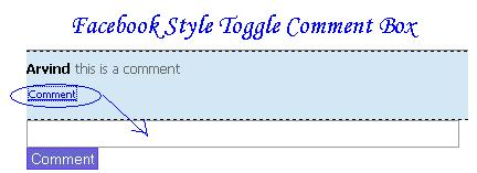 Facebook Style Toggle Comment Box with Jquery