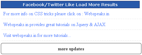 Facebook/Twitter Like load more results with Jquery
