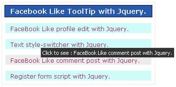 Facebook Like ToolTip with Jquery